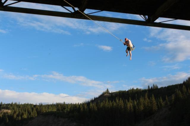 Dustin on the suicide swing under Mackenzie Crossing Bridge