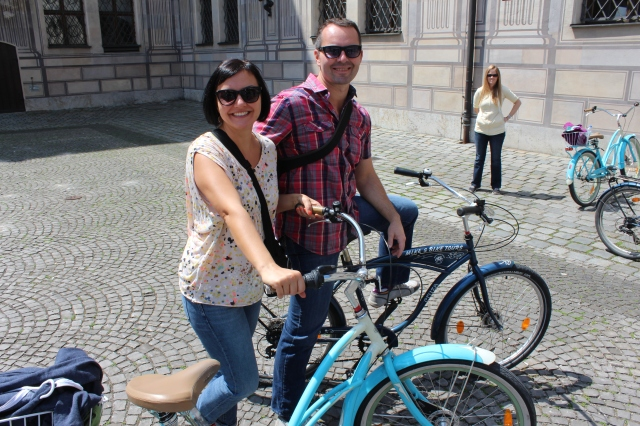 Jenn and Spence on the Munich Cruisers (photobomb courtesy of Bec)
