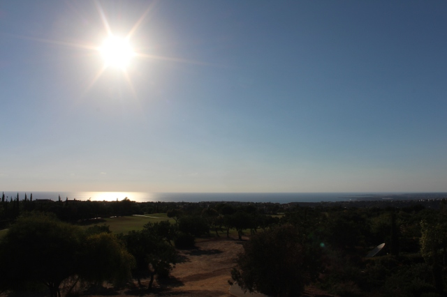 A glimpse of the Mediterranean Sea from the back nine of Aphrodite Hills