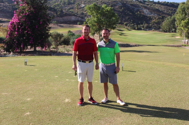 Two handsome gents pre tee off at Secret Valley