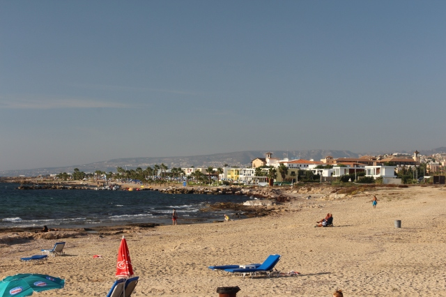 A look to the north on Lighthouse Beach, Paphos
