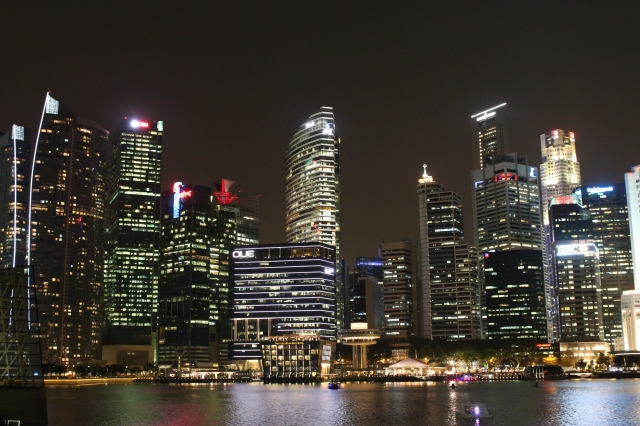 The Singapore business district by night