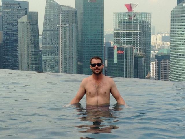 Dan in the SkyPark infinity pool
