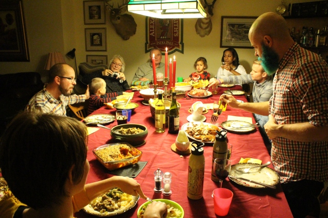 Gathered round the table for a Christmas Eve dinner