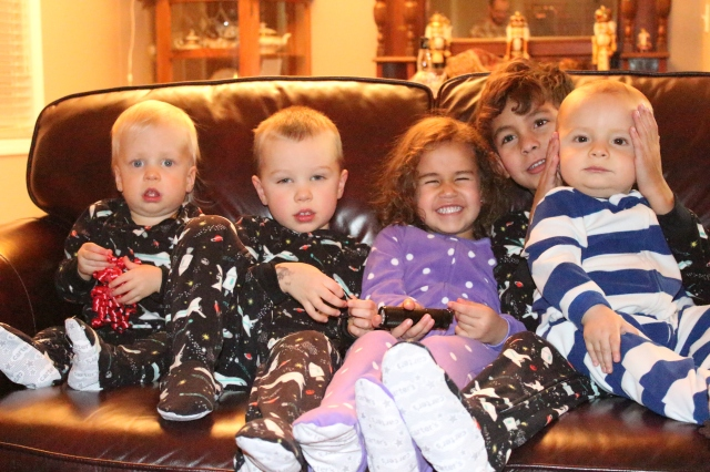 Kids in their new jammies