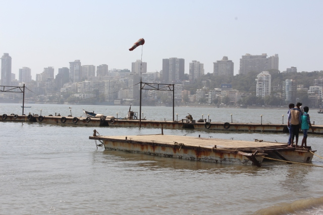 Looking across Back Bay to Malabar Hill from Chowpatty Beach