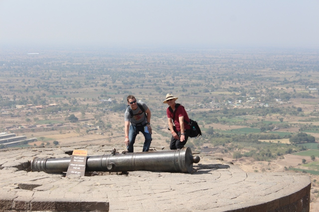 Dan and Uncle Steve at the top with the Kala Pahad Canon