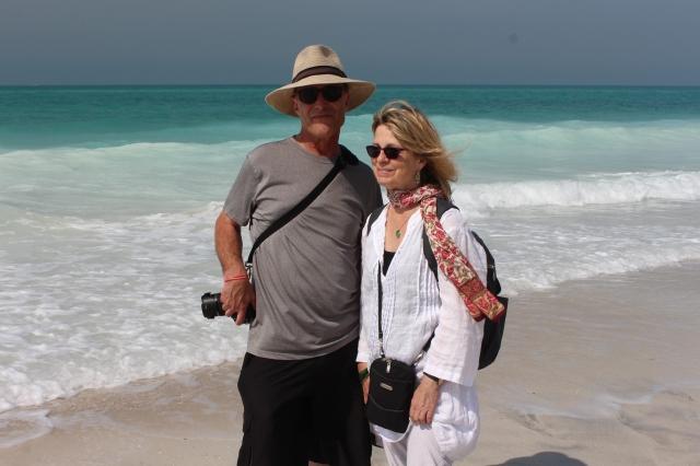 Steve and Susan dip their toes in the Arabian Gulf