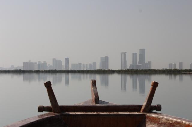 Abu Dhabi skyline and mangrove forest