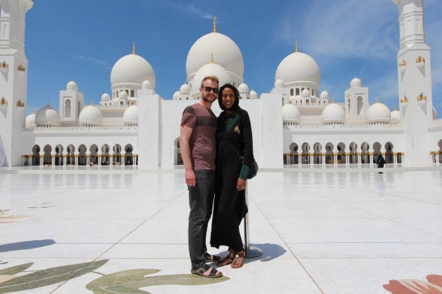 Scott and Jenelle at Sheikh Zayed Grand Mosque