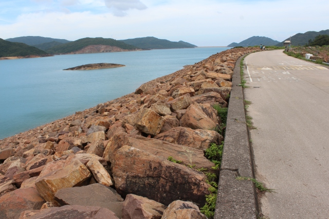 Walking along one of the dams on High Island Reservoir