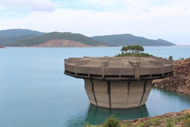 Reservoir overflow looking rather James Bond evil lair-ish
