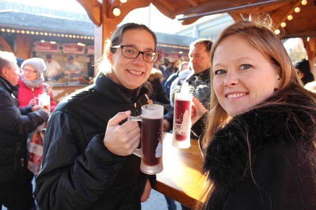 Laides enjoying a glüwein at the Winter Market in Potsdamer Platz