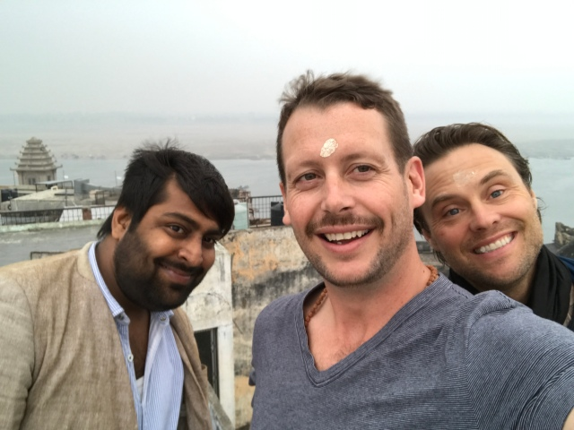 Lucky, Dan, and Scott on the roof of the Ganges Inn